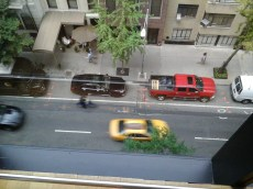 Red car from up high